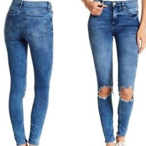 Free People Distressed Denin Skinny Jeans 29L NEW